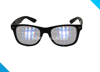 Çin Rainbow Spiral Plastic 3d Diffraction Glasses For New Year Rave Parties Tedarikçi