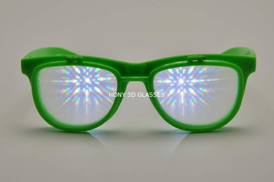 Çin Green Frame Plastic Diffraction Glasses , Flip Up Fireworks Glasses Distribütör