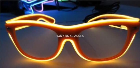 Çin High Brightness Orange El Wire Glasses For Party Show With Pc Plastic Frame Distribütör