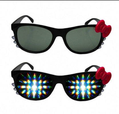 Çin Firework Plastic Diffraction Glasses , Hello Kitty Rainbow Glasses Distribütör