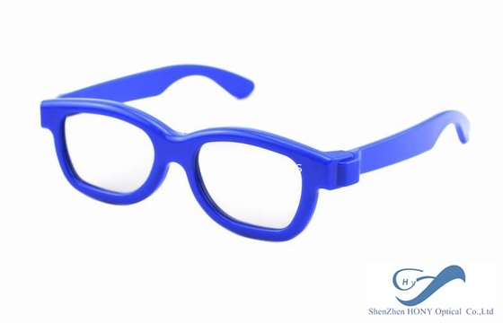 Çin Blue Frame Reald 3D Polarized Glasses Circular For Kids And Adult Distribütör